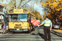 crossing guard and school bus