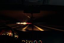 dashboard of a car at night