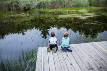 children looking at pond water from a dock