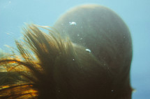 a woman's hair under water