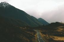 A road through mountains.