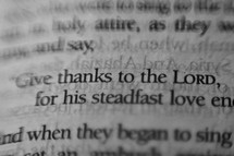 give thanks to the Lord highlighted in a Bible