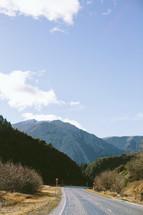 A highway through mountains.