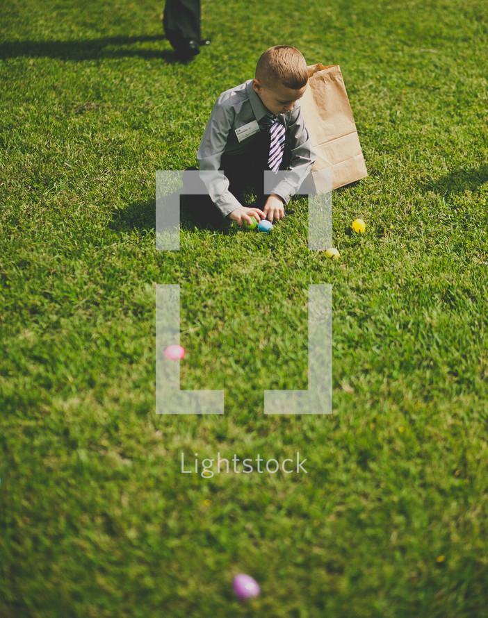 boy child at an Easter Egg hunt