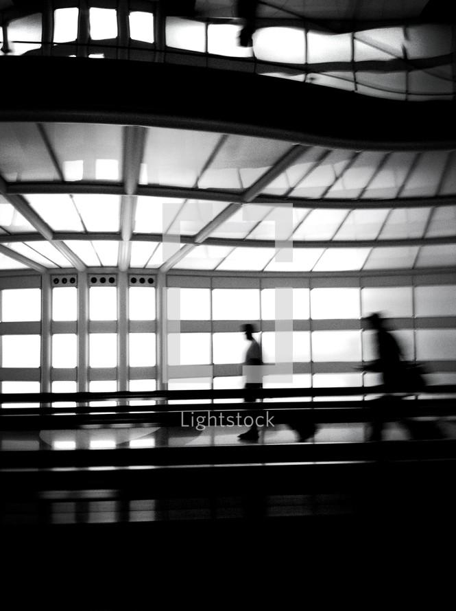 running through an airport