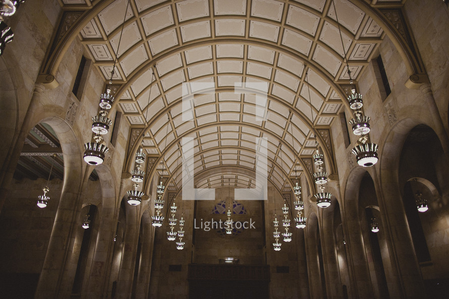 Inside of  church with high ceilings