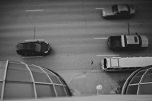 Aerial view of cars on a street
