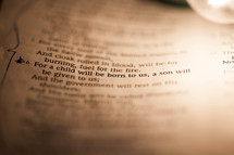 Scripture verse of Isaiah 9:6 up close