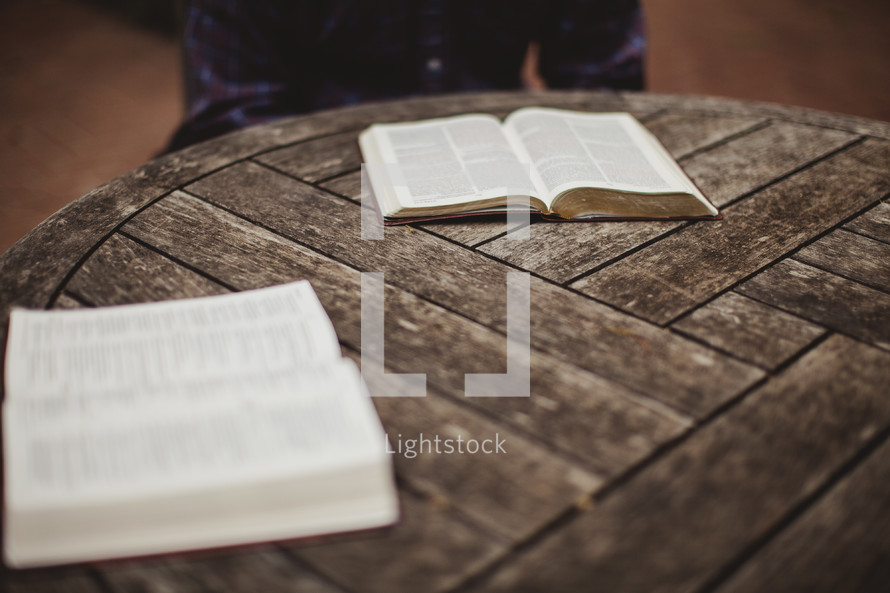 open Bibles on a table at a bible study