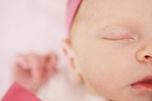 Closeup of infant girl sleeping