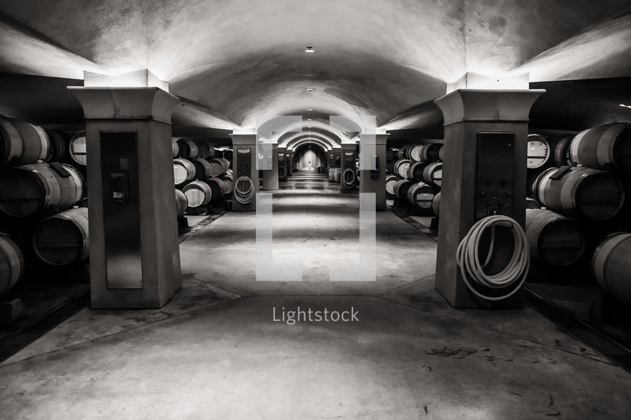 barrels of wine in a winery cellar underground wine cave