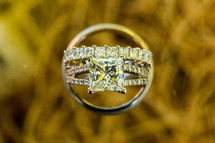 Wedding rings, square diamond, solitaire jewelry