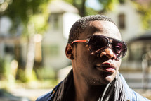 Black young man wearing sunglasses