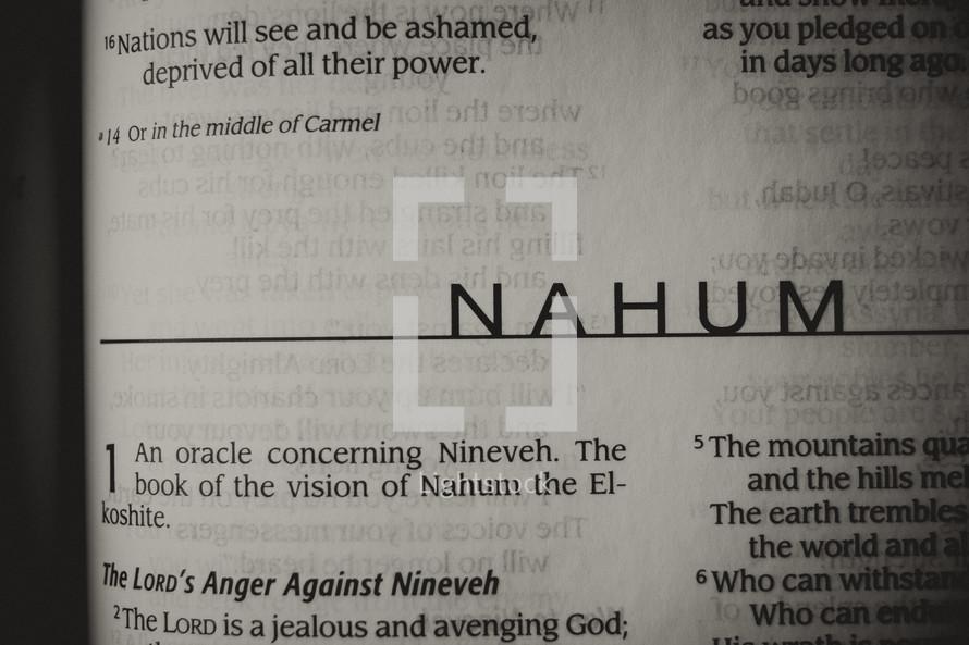 Open Bible in book of Nahum