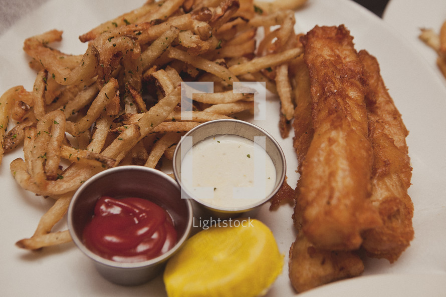 A plate of fried food - Chicken tenders and french fries