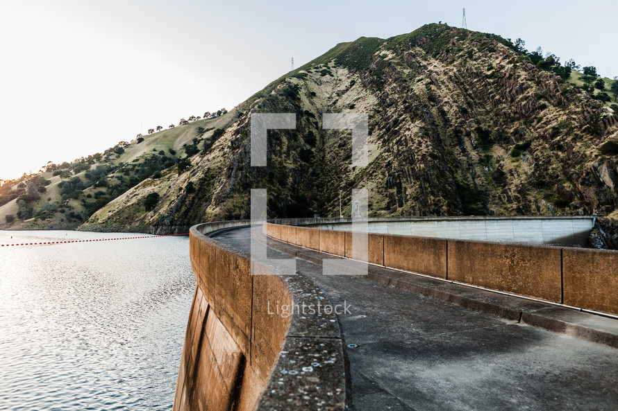 Road over water dam hydroelectric