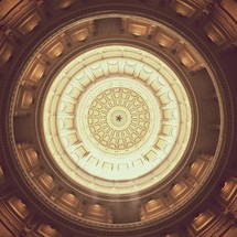 star at the top of a dome's ceiling