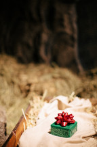 Green wrapped box with red bow lying on hay bale in barn.