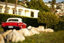 old T-bird car driving - homes - hillside