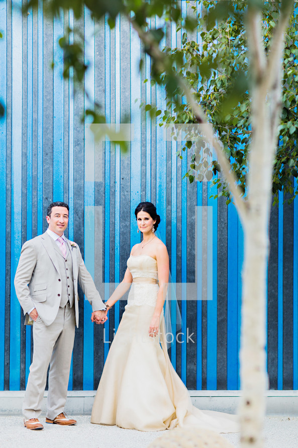 A bride and groom holding hands wedding blue wall stripes  trees