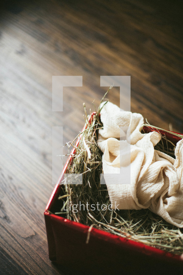 swaddling cloth in a manger