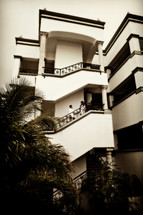 stairway of apartment building - people walking up