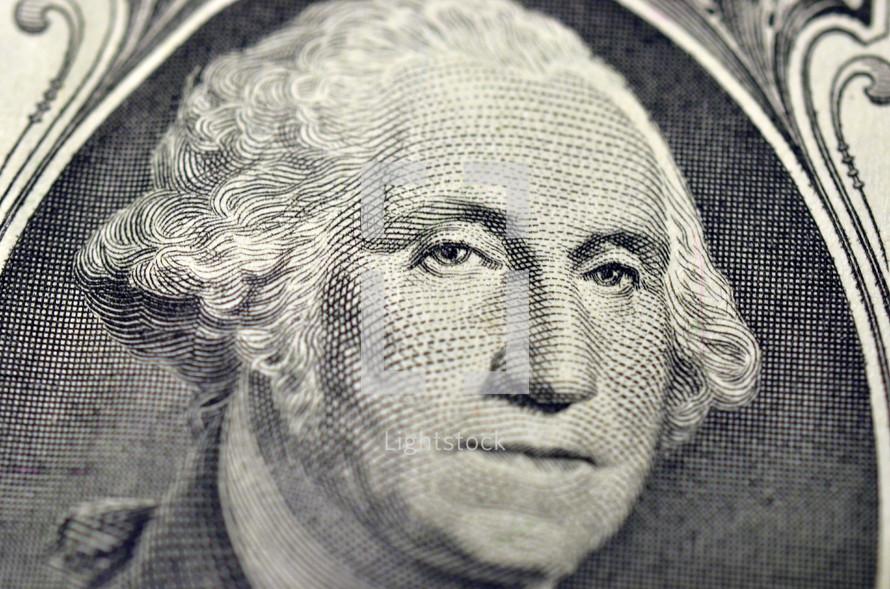 George Washington on the dollar bill