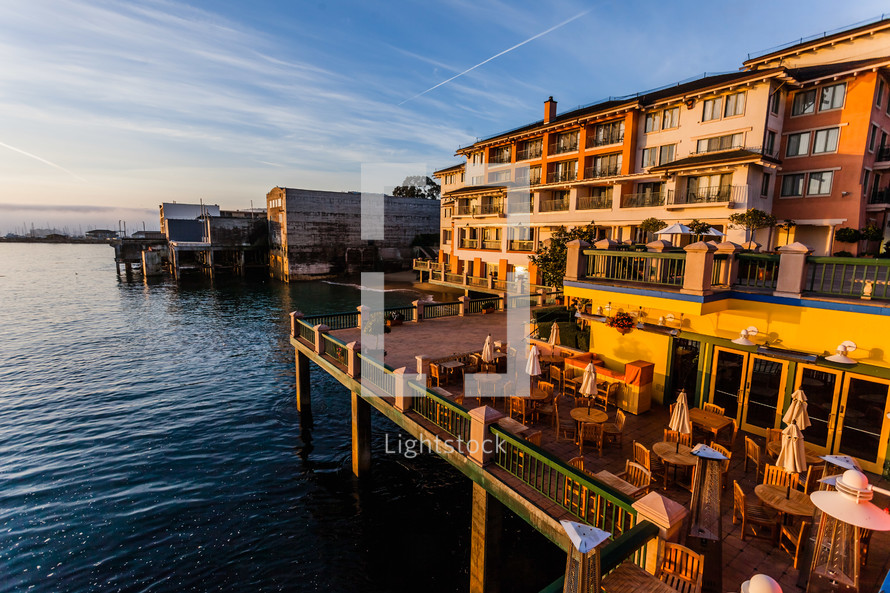 California Coast, Monterrey, Restaurant & hotel  dock deck at sunset