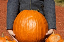 Child in gray wool jacket holding large pumpkin.