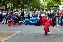 break dancer in a public square