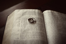 Wedding rings sitting on a bible