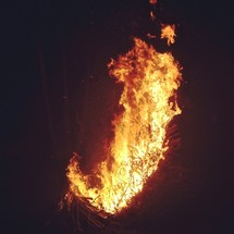 Large fire in the dark
