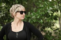 Woman wearing black