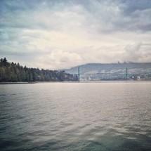 distant bridge over a harbor
