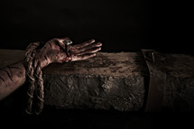 Blood flows from the hand of Jesus - nailed to the cross