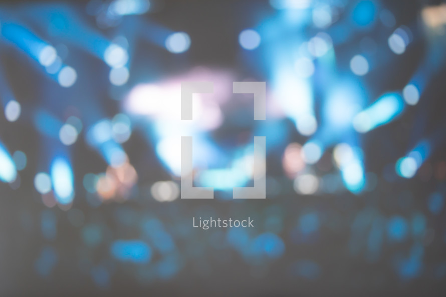 blurry bokeh lights background on stage