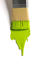 lime green paint on a paint brush