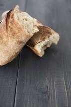 bread loaf in halves
