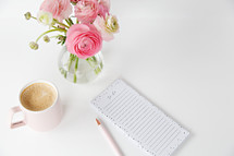 pink flowers, to do list, and coffee