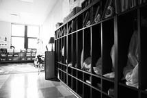 cubbies in an empty classroom
