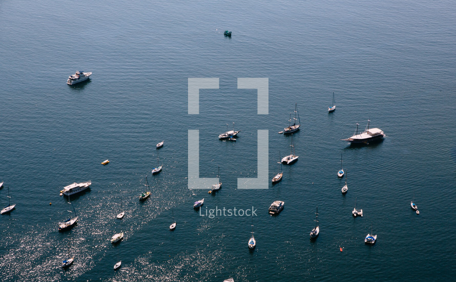 aerial view over boats on water