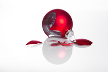 broken red Christmas ornament