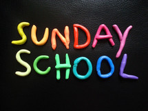 Sunday school in colorful rolled clay letters.