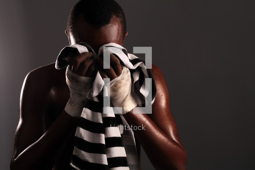 boxer with a towel