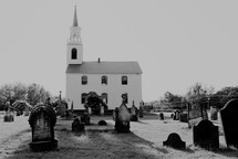 rural church with grave yard