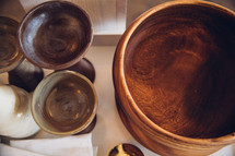 wooden bowls and chalices