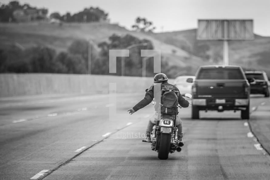 biker changing lanes