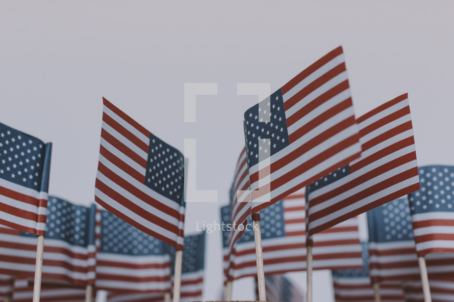 Small American flags on a white background.