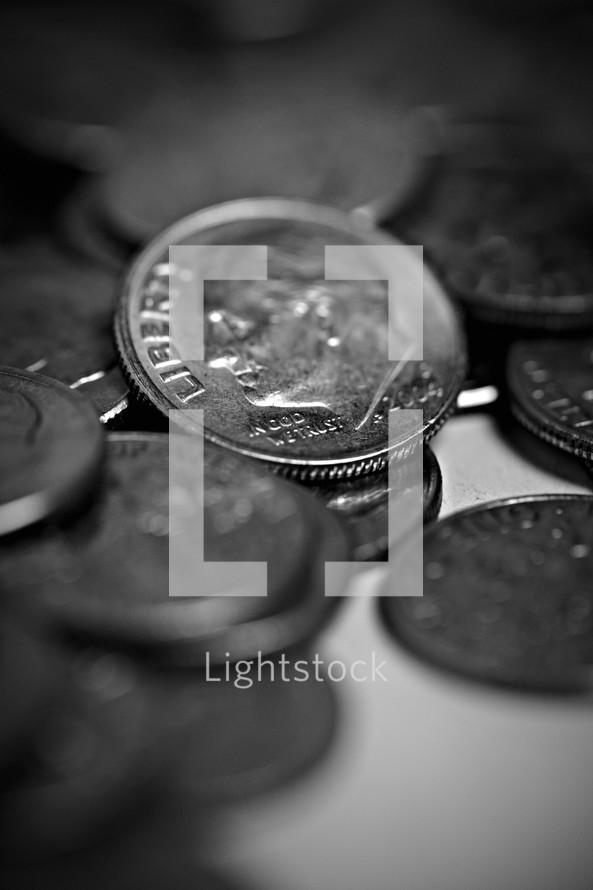A closeup of a dime