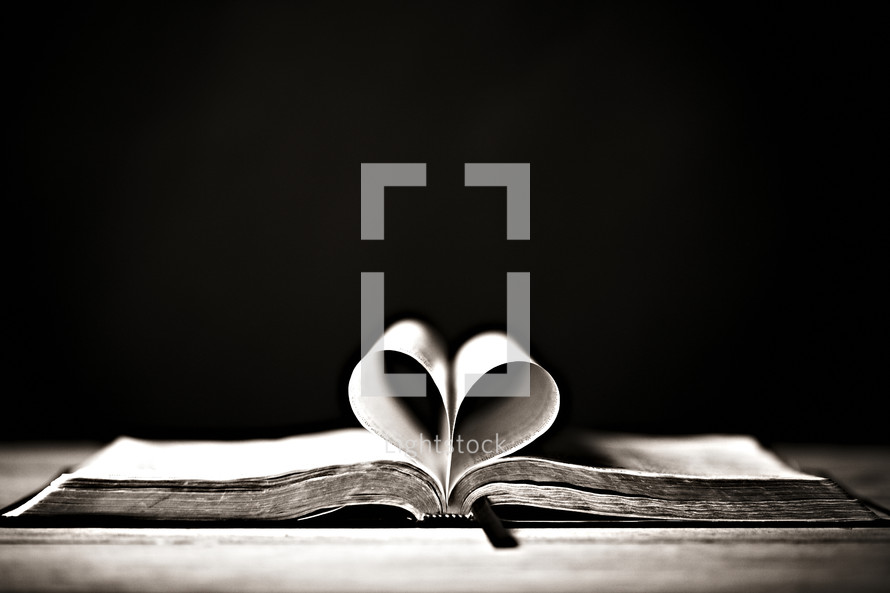Pages formed in the shape of a heart